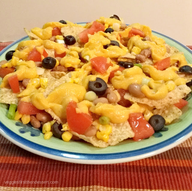 Veggies First Then Dessert - Loaded Vegan Nachos