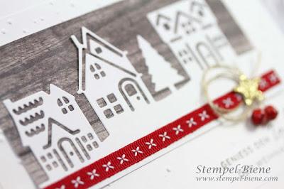 Bloghop Team Stempel-biene; Weihnachtsideen; Geschenke basteln; Deko Weihnachten basteln; Weihnachtsdeko; Winterstädchen; edle Weihnachtskarte; Weihnachtskarte Vintage; Stampinup