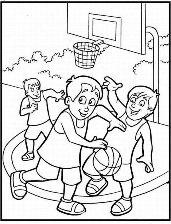 Tranh tô màu thiếu nhi chơi bóng rổ