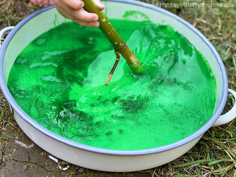 creating a slime swamp sensory bin