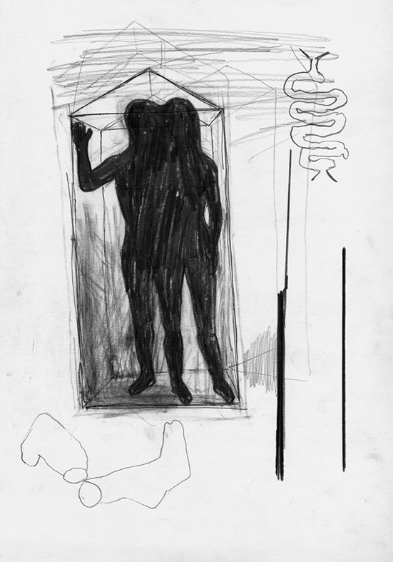 Mark Manders Drawing with iron sticks and socks, 1990-2002 pencil on paper 29,7 x 21 cm
