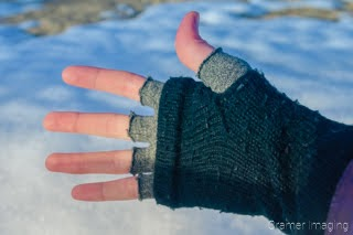Cramer Imaging's photographer of how the photographer keeps her hands warm in the wintertime