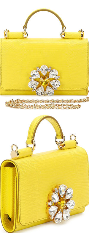 Dolce & Gabbana Miss Sicily Medium Lizard-Stamped Satchel Bag, Yellow