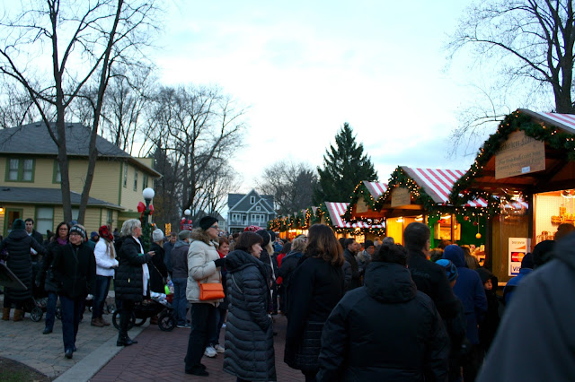 Christkindlmarket is bustling with holiday merriment in Naperville, IL.