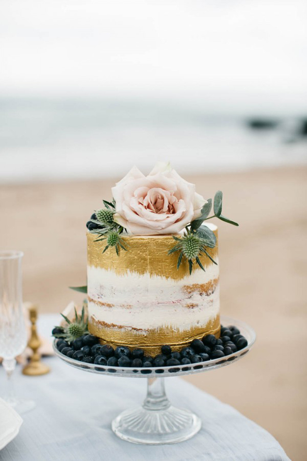 Rose naked wedding cake