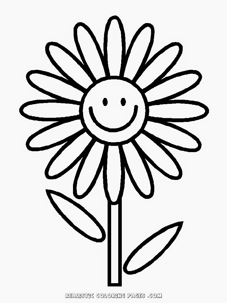 Simple Flower Kindergarten Kids Coloring Pages Realistic