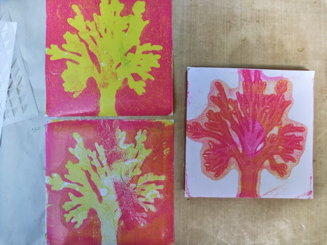 Pink and Yellow Tree Monoprints from a Gelli Plate