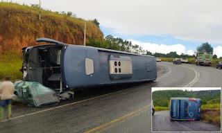 Motorista morre após carro ser esmagado por ônibus na BR-101