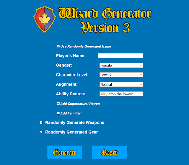 Dungeon Crawl Classics Wizard Generator Version 3