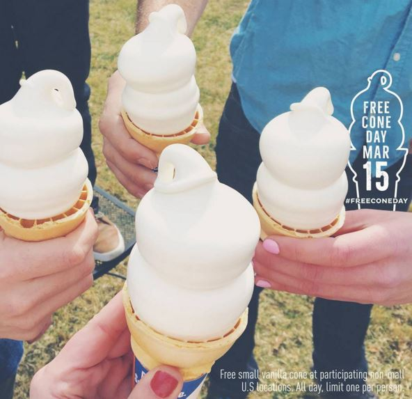 FREE CONE DAY AT DAIRY QUEEN ON MARCH 15