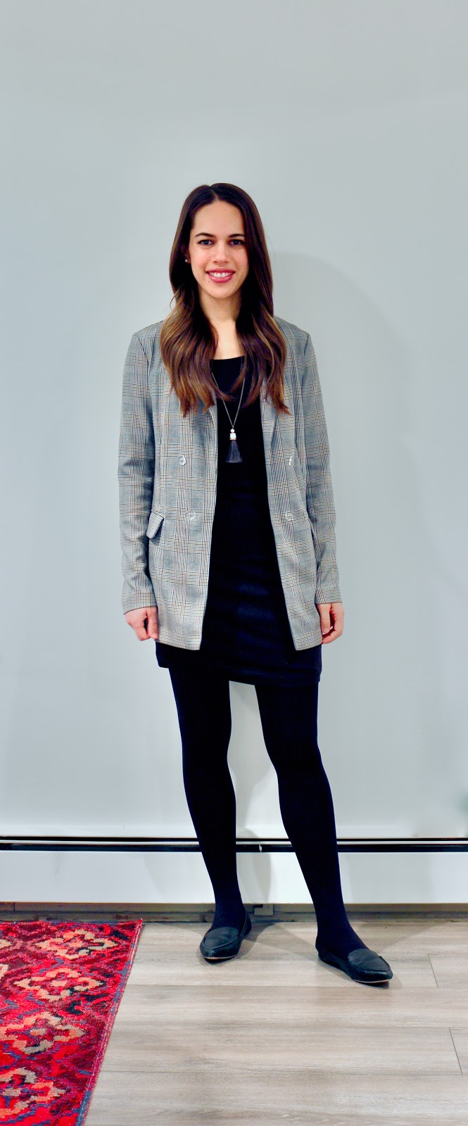Jules in Flats - T-Shirt Dress + Oversized Plaid Blazer (Business Casual Winter Workwear on a Budget)