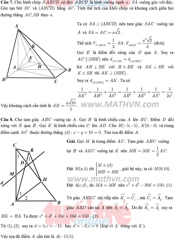 đáp án môn toán thi thpt quốc gia năm 2015 chi tiết
