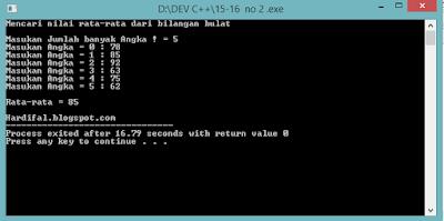 Program C++ Menghitung Nilai rata-rata dari Sekumpulan Data Bilangan Bulat