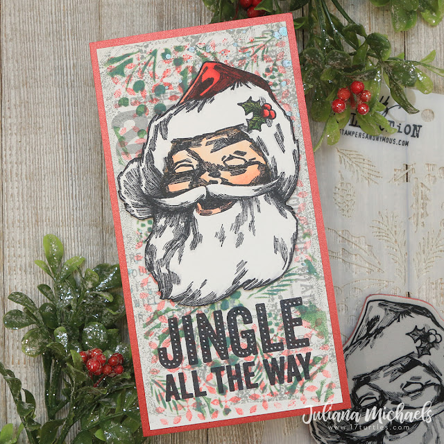 Jingle All The Way Jolly Santa Slimline Christmas Card by Juliana Michaels featuring Tim Holtz Stampers Anonymous Jolly Santa and Bold Tidings Stamp Set