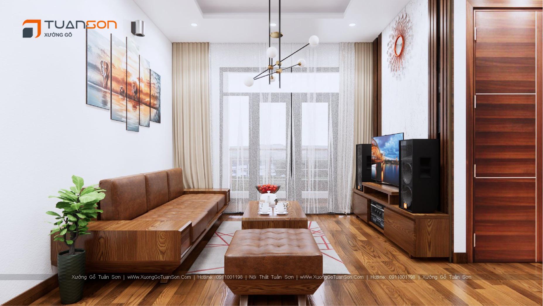 Thiết kế nội thất căn hộ số 1 (56.8m2) 2 phòng ngủ Phương Đông Green Park