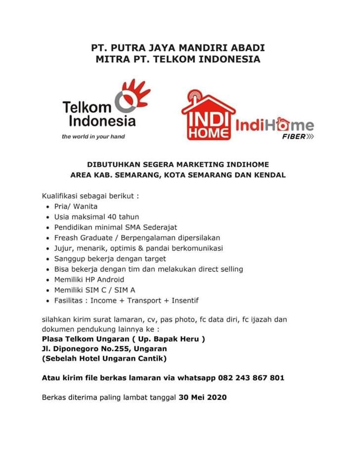 Lowongan Kerja Marketing Indihome Pt Putra Jaya Mandiri Abadi Semarang Dan Kendal Loker Swasta