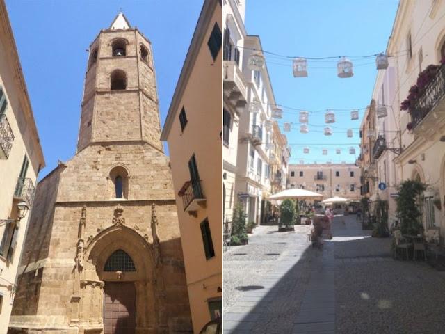 campanile e via del centro Alghero