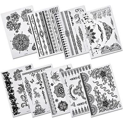 henna and mandala temporary tattoo designs