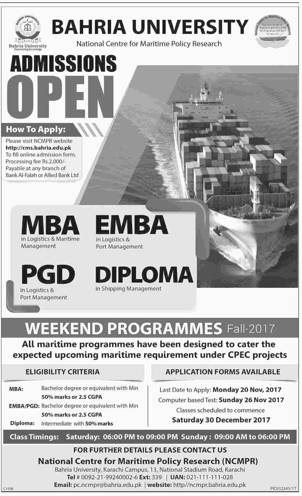 Admissions Open in Bahria University Karachi