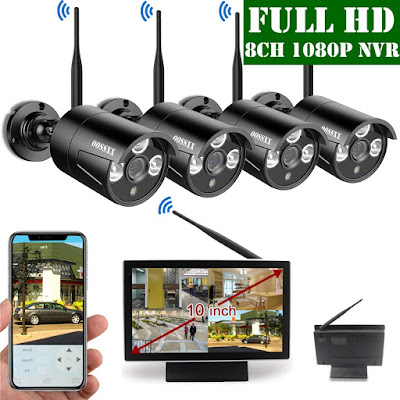 【2019 Update】 OOSSXX 10 inch Screen HD 1080P 8-Channel Wireless Security Camera System,4pcs 1080P 2.0Megapixel Wireless Weatherproof Bullet IP Cameras,Plug and Play,70FT Night Vision,P2P,App, No HDD