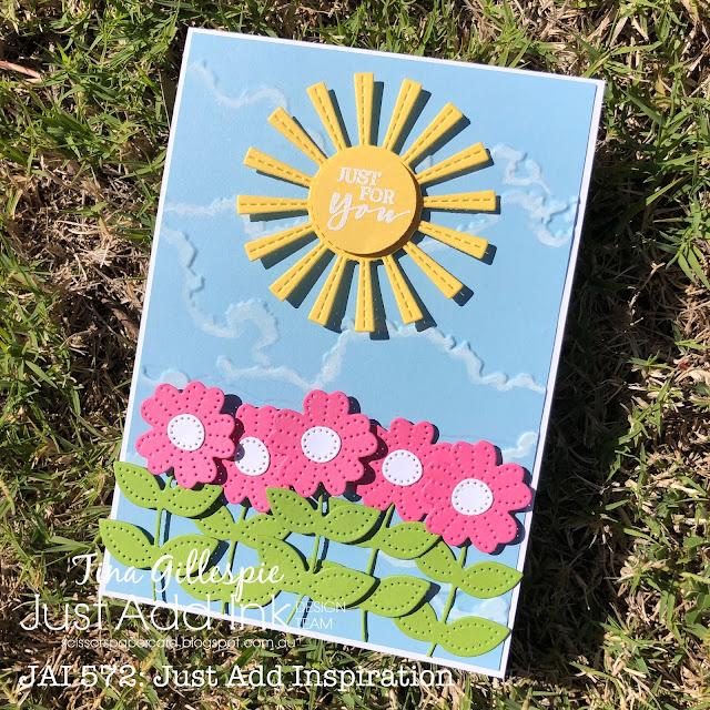 scissorspapercard, Stampin' Up!, Altenew, Uniquely Creative, Just Add Ink, Cloudy Day 3DEF, Stitched Sun Die, Pierced Blooms Dies, Sweet Strawberry