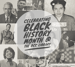 Images of many prominent Black people . Reads Celebrating Black History Month @ OCC Library