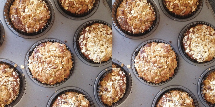 an image of rhubarb crumble muffins