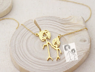 personalized drawing necklace for mother's day