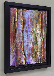 framed vertical abstract painting BOGO