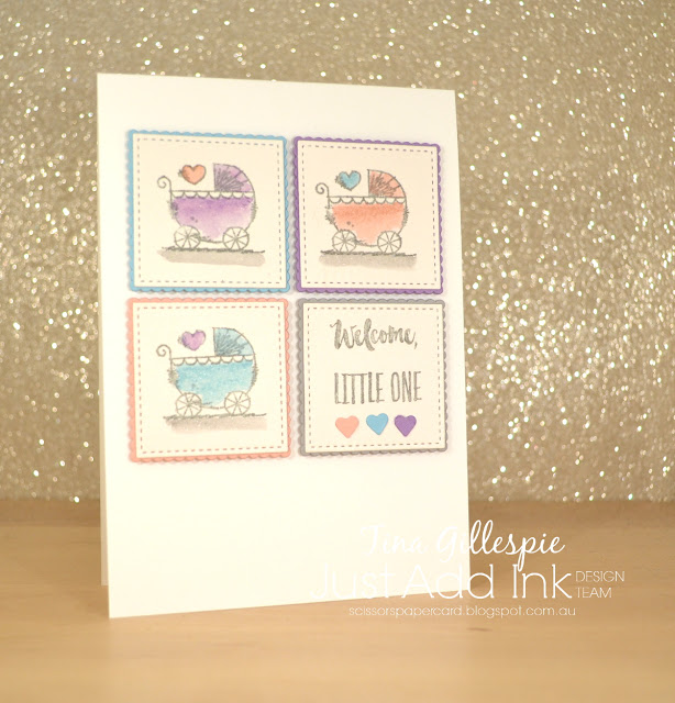 scissorspapercard, Stampin' Up!, Just Add Ink, Witty-cisms, Peaceful Moments, Music From The Heart, Baby Card