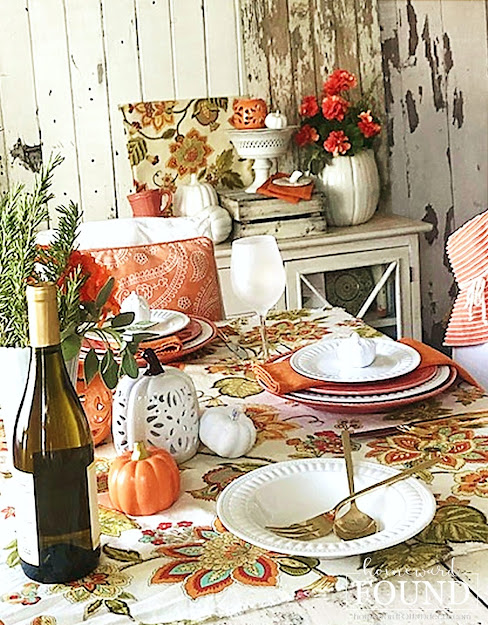 fall, entertaining, tablescapes, decorating, color palettes, color, pumpkins, seasonal, home decor, fall home decor, fall table decor, fall tablescapes, painted pumpkins, paisley print fabric, paisley fall tablescape