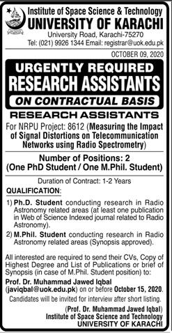University Of Karachi Latest Jobs Advertisement in Pakistan