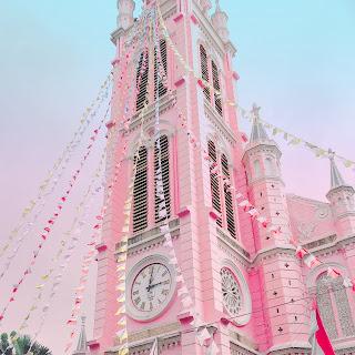 bohemian catholic church pink embraces feminine square