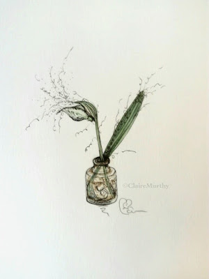 Flower painting : Snowdrop in Watercolour and ink : January art blog.