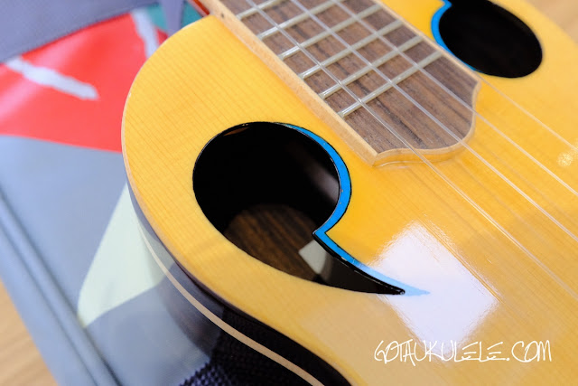 The Rebel Quark Tenor Ukulele soundholes