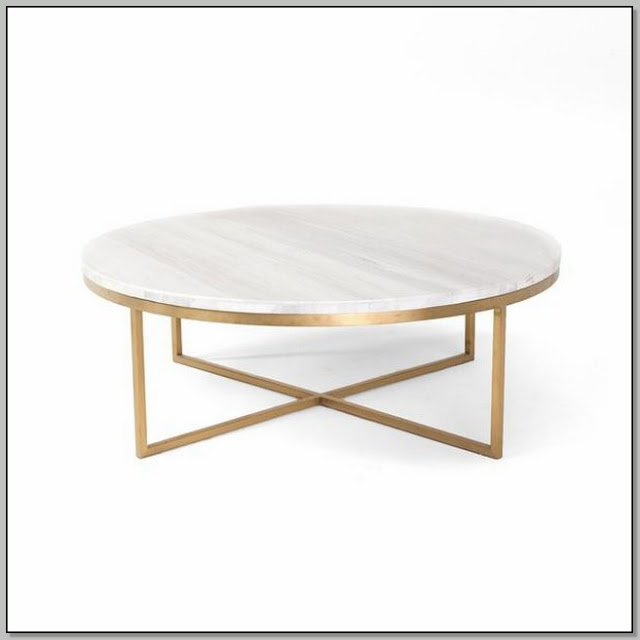 White Coffee Table With Gold Base