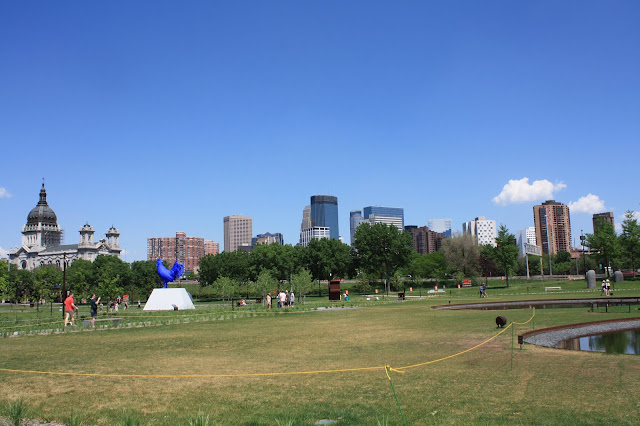 Minneapolis Sculpture Garden with the city in the background