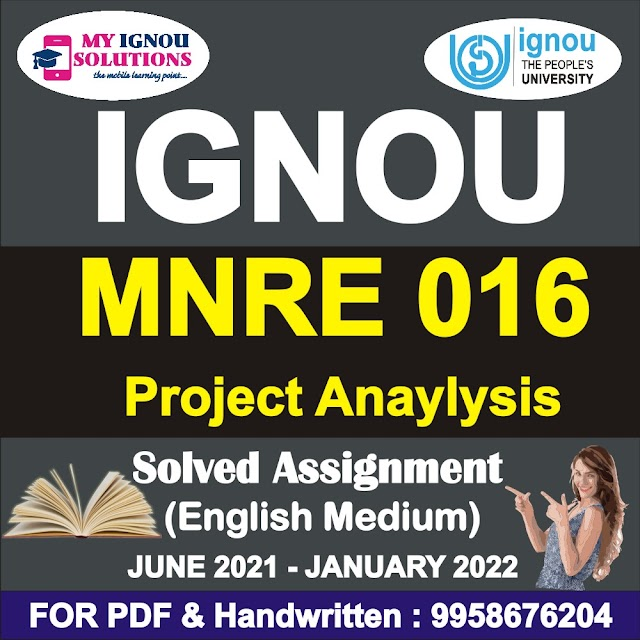 MNRE 016 Solved Assignment 2021-22