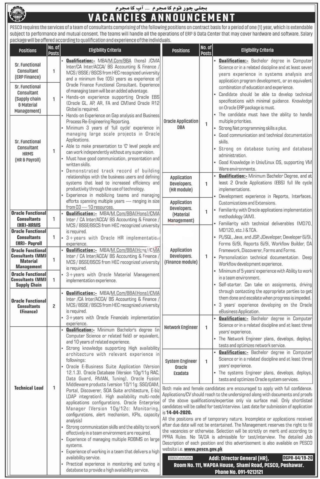 Latest PESCO jobs 2020 Advertisement| WAPDA Jobs 2020