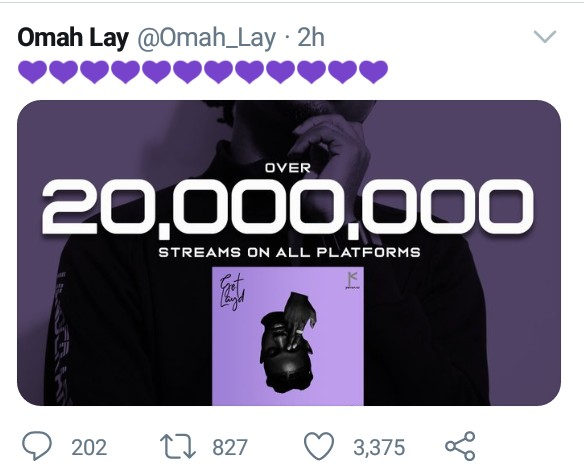 Omah Lay Get Layd Ep grosses 20Million Streams on Digital Platforms