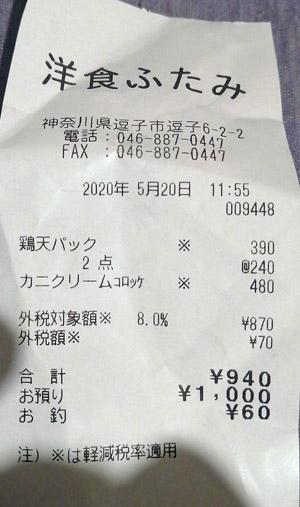 洋食ふたみ 2020/5/20 のレシート