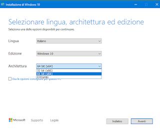MCT - Selezione sistema 32/64 bit