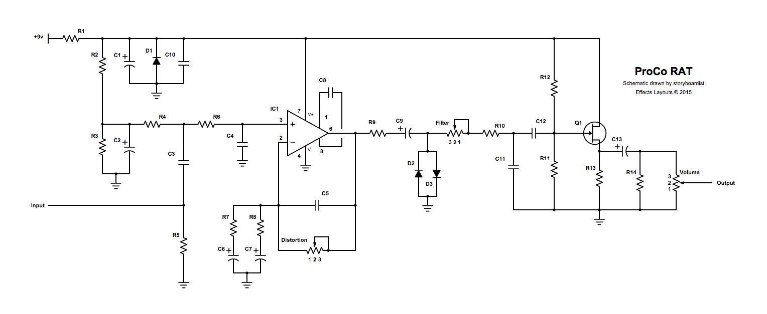 Perf and PCB Effects Layouts: ProCo RAT Project Rat Schematic on
