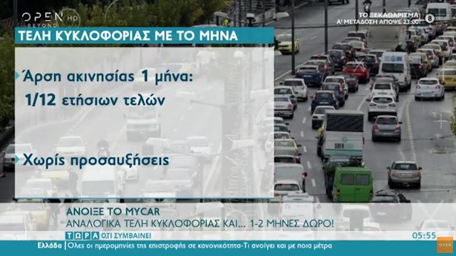 Σε λειτουργία η εφαρμογή  «Mycar» για την πληρωμή των τελών κυκλοφορίας με τον μήνα