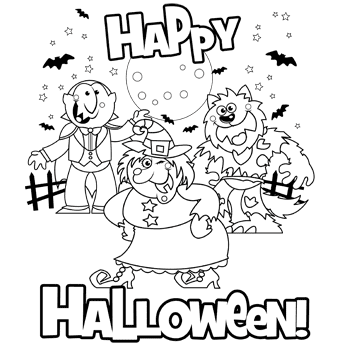 www halloween coloring pages | transmissionpress: 11 Happy Halloween Coloring Pages