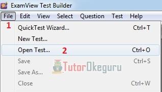 Membuka file test - Exam View