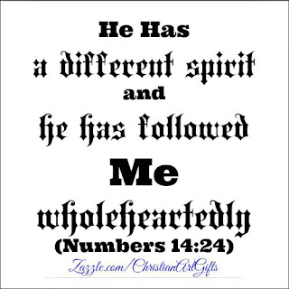 He has a different spirit in him and he has followed Me wholeheartedly Numbers 14:24