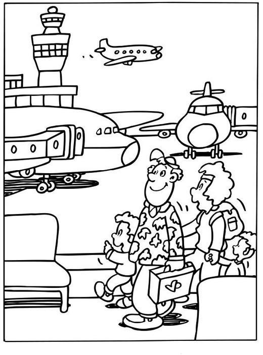 Coloring Page At The Airport Coloring Pages