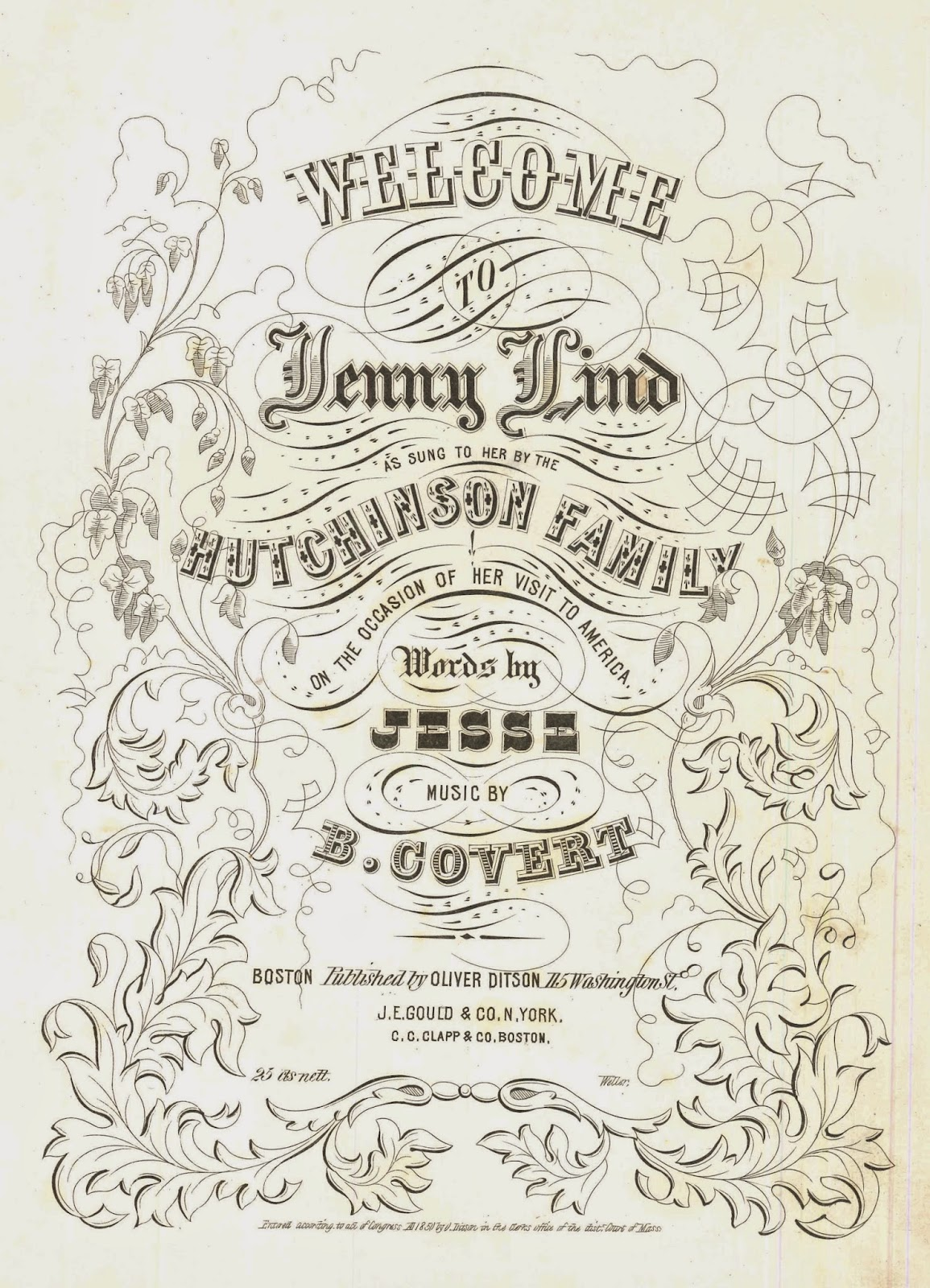 "The cover for the sheet music ""Welcome to Jenny Lind."""