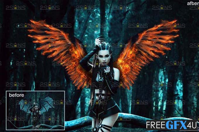 Fire Angel Wings Photoshop Overlays